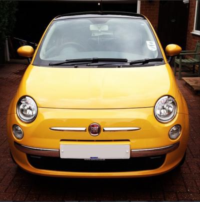 countrypolitan yellow fiat 500
